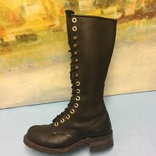 "Carolina 15.5"" Tall Linesman Boots Black Leather M7.5/L9 Logger Lace Up work"