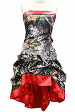 New Camo Evening Dresses A-Line Satin Camouflage Party Prom Bridal Gowns Custom