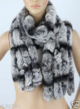 Real Rabbit Fur Scarf Collar Shawl Cape Wrap Winter Stole Scarves New