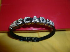 New ESCADA leather strap with embellishment wristband/bracelet/anklet in black