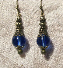 BRONZE FILIGREE SAPPHIRE BLUE GLASS EARRINGS VICTORIAN EDWARDIAN RENAISSANCE
