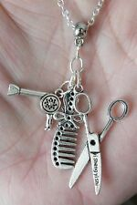 """Hair Dresser Necklace Cosmetologist Stylists Dryer Scissor Comb Charms 19.5"""" NEW"""