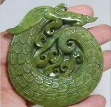Chinese old Trabajo Hecho a Mano Verde Jade Tallada Dragon Colgante 999