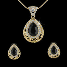 Retro Waterdrop Black Gemstone Jewelry Set Gold Plated Necklace+Bridal Earrings
