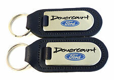 2 x Ford  Dealership Keyrings  Blue Leather With Chrome & Enamel