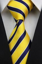 SALE!! Mens Classic Old School College Stripe Silk Necktie Tie Yellow Navy Blue