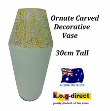 WHITE AND GOLD ORNATE CARVED DECORATIVE VASE - 09YZ081