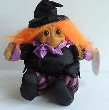 Estate  So Cute Russ Berrie Stuffed Plush Purple Orange Witch Troll Doll w/tag