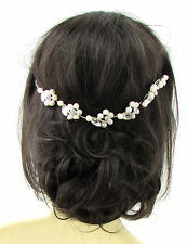 Art Deco Silver Diamante Ivory Pearl Bridal Headpiece Hair Vine Vtg Headband 640