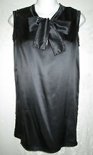 LANVIN Black Raw Edge Silk Satin Tie Neck Shell Blouse 38 4 $900