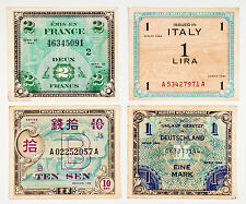 4 different countries WW2 Allied military currency Italy, Germany, France, Japan
