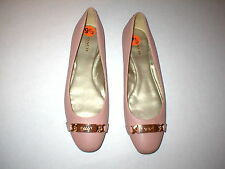 New Womens Authentic Coach Flats Leather 9.5 Shoes Blush Rose Pink Gold Logo