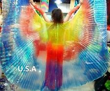 Belly Dance Isis Wings Silk Fan Veils Multi-color Quick Ship USA      Free Gift