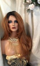 GORGEOUS, Human Hair Blend LACE FRONT Long Straight Rooted, Light Red Wig!