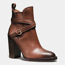 Coach Jackson Bootie Dark Saddle Leather Leather Ankle Boots Size 9.5