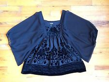 H&M CONSCIOUS Black Velvet Burnout Blouse Baby Doll Top Sz 6 PERFECT