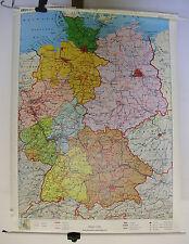 Schulwandkarte Wandkarte Karte Deutschland Länder Berlin BRD DDR ~1989 98x131cm