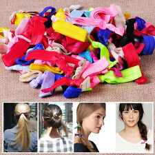 100Pcs Candy Color Elastic Hair Ties Knotted Hairband No Crease Ponytail Holder