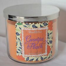 Georgia Peach Scented Candle Bath & Body Works 3 Wick Large Glass Jar Fruit USA
