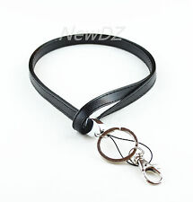 Black Faux Leather lanyard with Key Chain