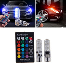 2pcs T10 6SMD RGB LED Car Wedge Reading Lamp Auto Interior Light+ Remote Control