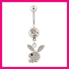 PIERCING NOMBRIL CRYSTAL STRASS PLAYBOY LAPIN BELLY NAVEL RING BAR RING BUNNY CZ