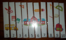 School themed 1-10 Number Sequence Puzzle and Game Board.  Laminated learning ga
