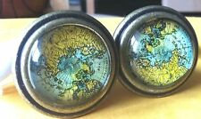 TWO Unique Antiqued Bronze Globe Map  Knobs Pulls