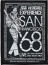 Jimi Hendrix San Francisco 1968 sew-on cloth patch (ro)