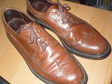 Hanover Mens 9 D/B Longwing Gunboat Wingtip Wing Tip Brown Leather Preowned