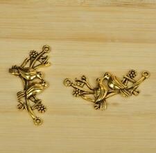 15pcs Tibet silver antique gold yellow two birds love charm beads pendant 45MM