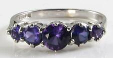 ENGLISH 9K 9CT WHITE GOLD AFRICAN AMETHYST HALF ETERNITY RING