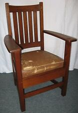 ORIGINAL LIMBERT AMERICAN ARTS CRAFTS MISSION OAK TIGER OAK ARMCHAIR DESK CHAIR