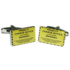 Yellow & Black Penalty Charge Parking Notice Cufflinks With Gift Pouch Car New