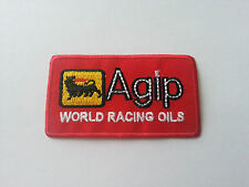 MOTOR RACING RALLY SPORT FUELS OILS SEW / IRON ON PATCH:- AGIP (a) RED BLOCK