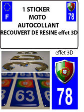 1 sticker plaque immatriculation MOTO TUNING 3D RESINE  BLASON PORTUGAL DEPA 78