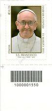 2013 francobollo Pontificato di Sua Santità Francesco SX CODICE A BARRE 1550