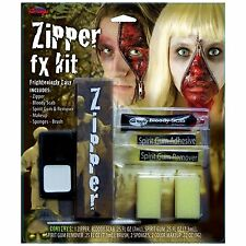 Halloween Zipper Face Scary Kit Zip Bloody Fake Scab Special FX Makeup FW9602