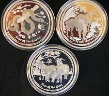 3 x 2 oz Proof Lunar Collection 2013 - 2015 Silber Münzen PP Silver Coin