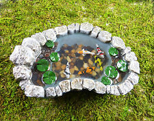 Dollhouse Miniature Fairy Garden Resin Koi Pond with Lily Pads, 16883