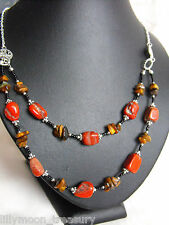 "druzy raw RED JASPER & TIGER'S eye gemstone necklace chips glass beaded 20-22"" B"