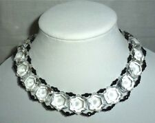 vintage MIRIAM HASKELL clear Lucite & black beaded CHOKER necklace