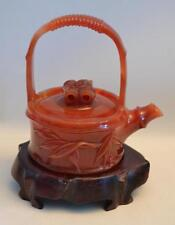 Vintage 1920s Chinese Hand Carved Agate Teapot