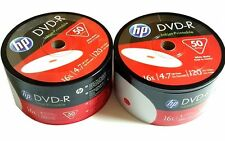 100 HP Blank DVD-R DVDR Recordable White Inkjet Printable 16X 4.7GB Media Disc