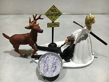 Hunt Hunting Humor Funny Bride Groom Wedding Cake Topper Bud Lght Beer Buck Gun