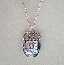 "Egyptian Scarabeo Beetle Ciondolo Collana Con Catena 20"" Borsa Regalo-Rinascita Eternity"