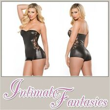 Lace and Wet Look Strapless Jumper Catsuit Dominatrix Sexy Outfit Size 10 12 14