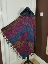 Warm Winter Fleece Poncho Wrap Colorful Butterfly Hooded Unisex Onesize Festival