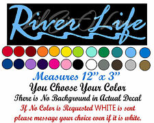 """River Life Decal Script with River """"R"""" Sticker Fishing Fisherman Fish Car Auto"""