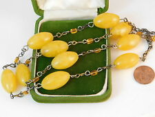 "Vintage Faux Butterscotch Yellow Amber Plastic Bead 28"" Chain Necklace 7b 18"